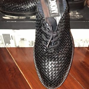 DKNY slipon woven leather loafers
